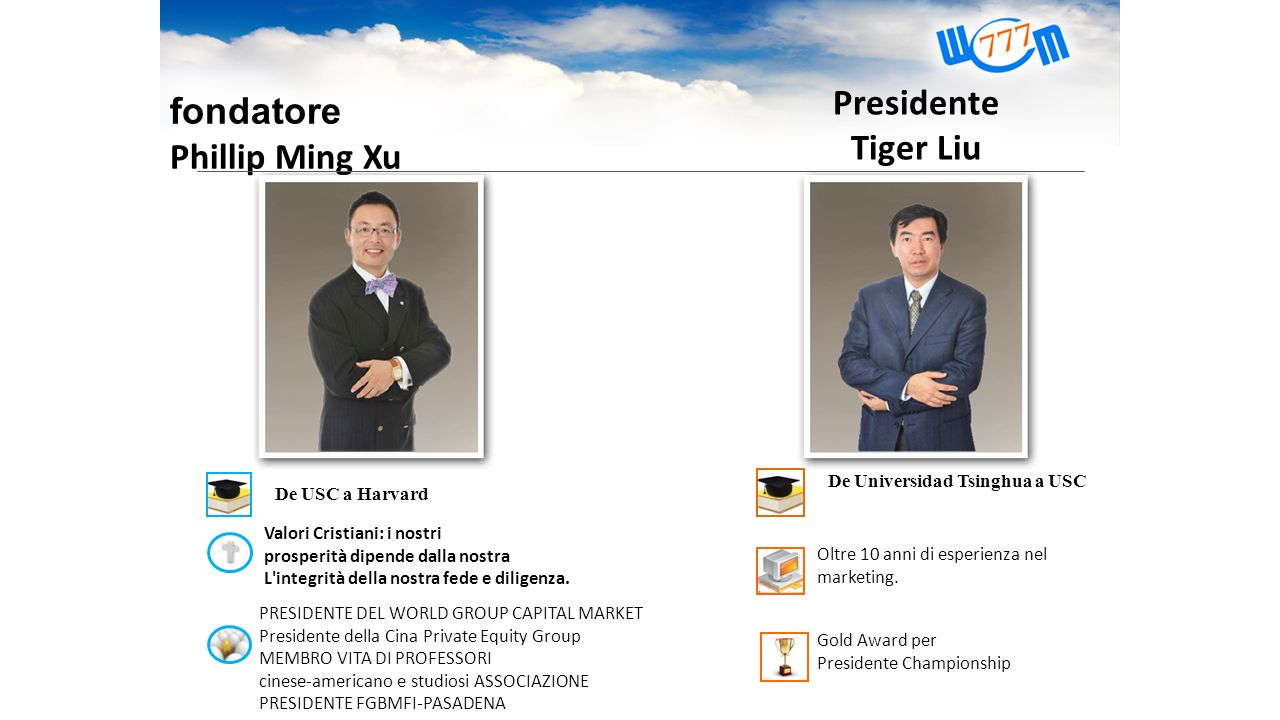 fondatore Phillip Ming Xu De USC a Harvard Presidente Tiger Liu De Universidad Tsinghua a USC Oltre 10 anni di esperienza nel marketing. Gold Award pe
