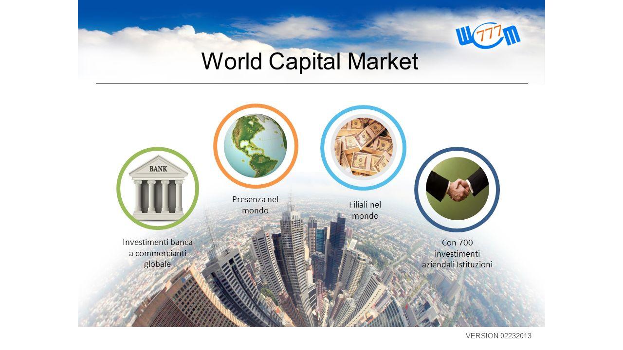 World Capital Market VERSION 02232013 Con 700 investimenti aziendali Istituzioni Filiali nel mondo Presenza nel mondo Investimenti banca a commerciant