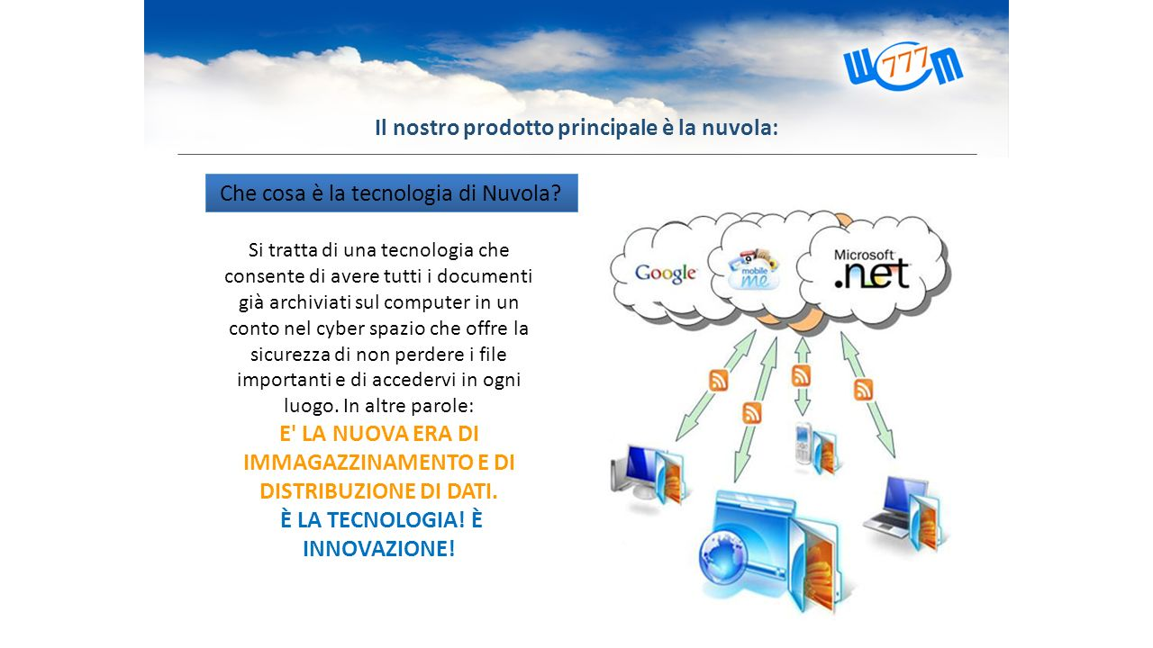 Che cosa è la tecnologia di Nuvola? Si tratta di una tecnologia che consente di avere tutti i documenti già archiviati sul computer in un conto nel cy