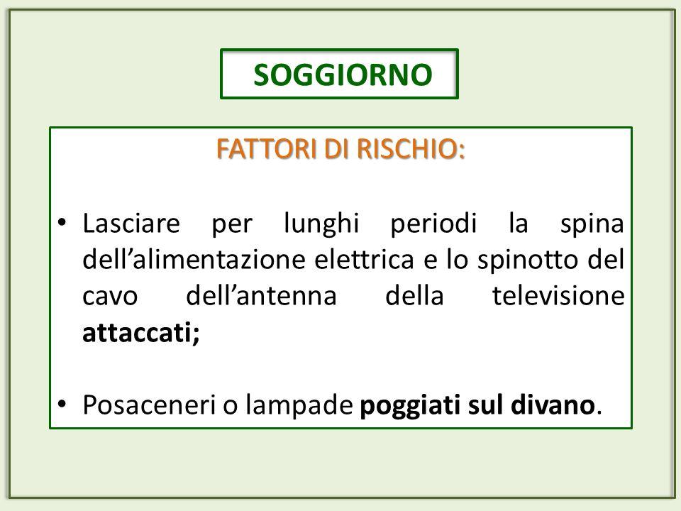 SOGGIORNO FATTORI DI RISCHIO: Lasciare per lunghi periodi la spina dellalimentazione elettrica e lo spinotto del cavo dellantenna della televisione at