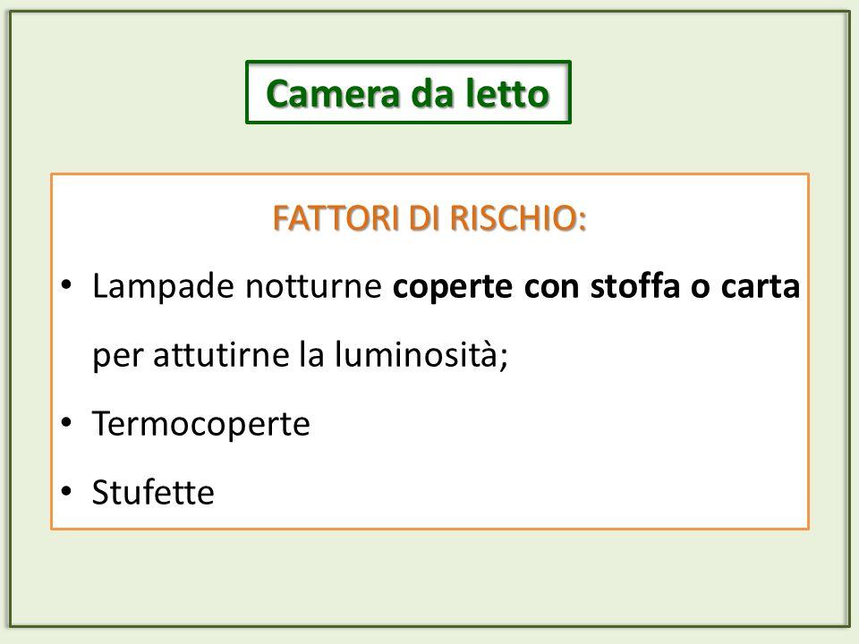 FATTORI DI RISCHIO: Lampade notturne coperte con stoffa o carta per attutirne la luminosità; Termocoperte Stufette Camera da letto
