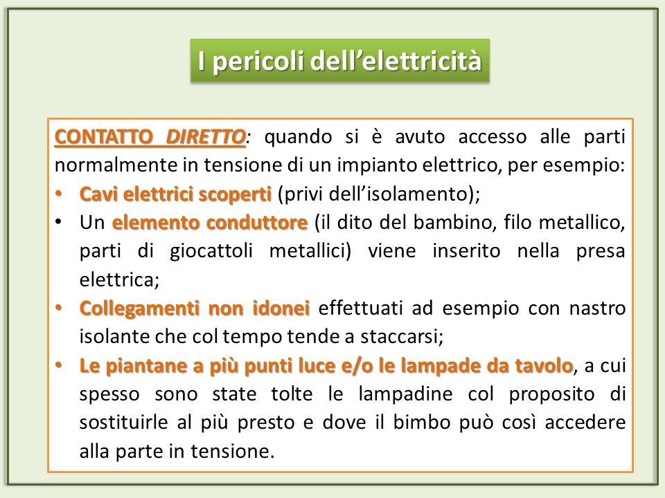 CONTATTO DIRETTO CONTATTO DIRETTO: quando si è avuto accesso alle parti normalmente in tensione di un impianto elettrico, per esempio: Cavi elettrici