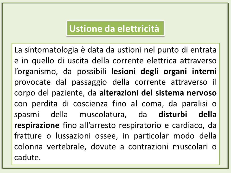 La sintomatologia è data da ustioni nel punto di entrata e in quello di uscita della corrente elettrica attraverso lorganismo, da possibili lesioni de