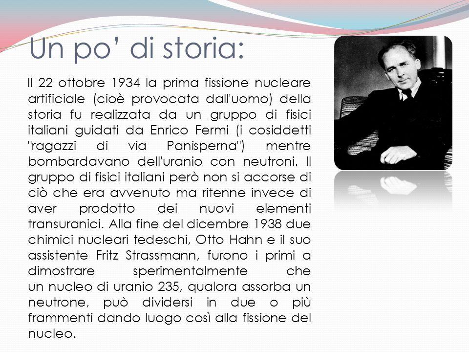 Un po di storia: Il 22 ottobre 1934 la prima fissione nucleare artificiale (cioè provocata dall'uomo) della storia fu realizzata da un gruppo di fisic