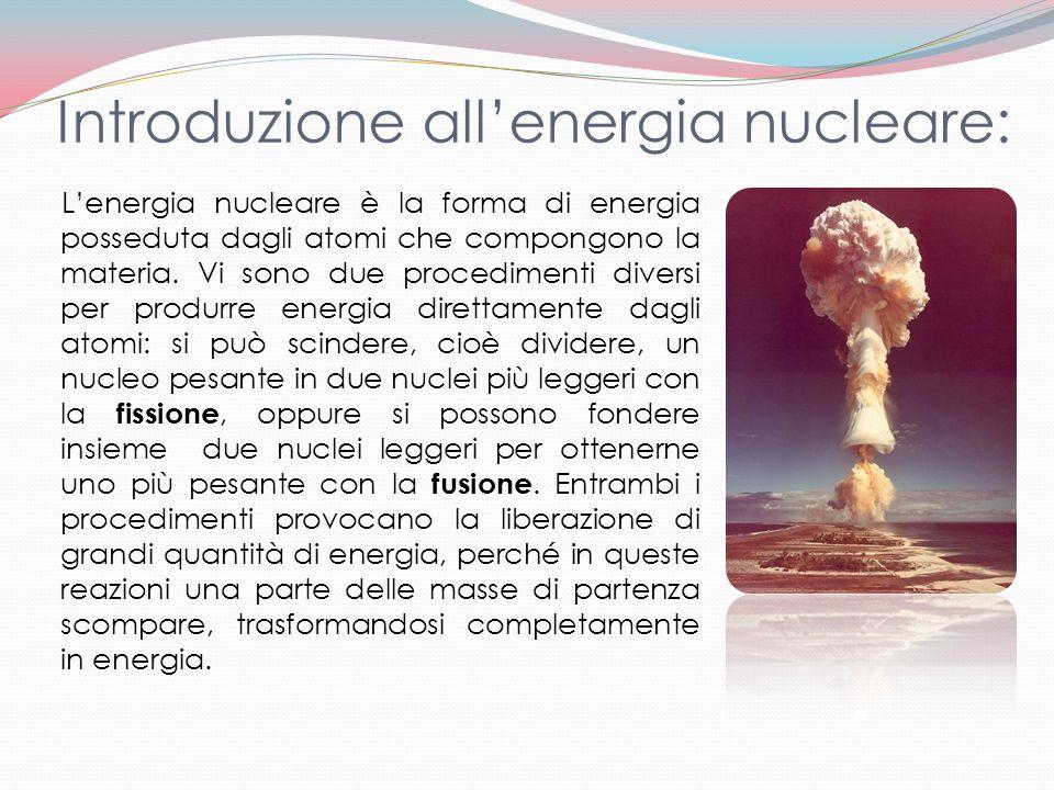 Lenergia nucleare è la forma di energia posseduta dagli atomi che compongono la materia. Vi sono due procedimenti diversi per produrre energia diretta