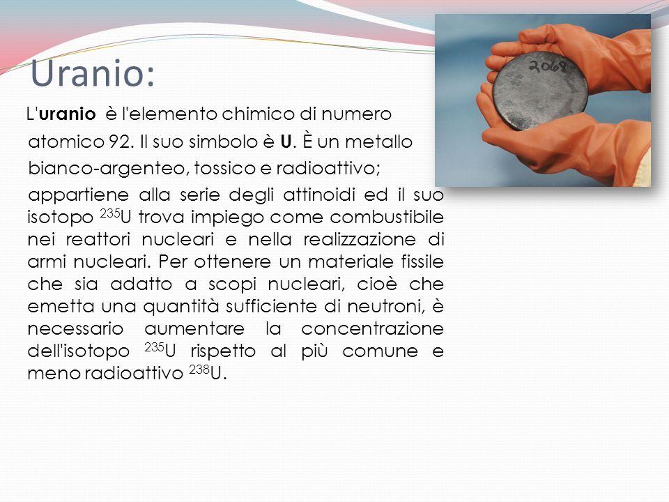 Uranio: L' uranio è l'elemento chimico di numero atomico 92. Il suo simbolo è U. È un metallo bianco-argenteo, tossico e radioattivo; appartiene alla