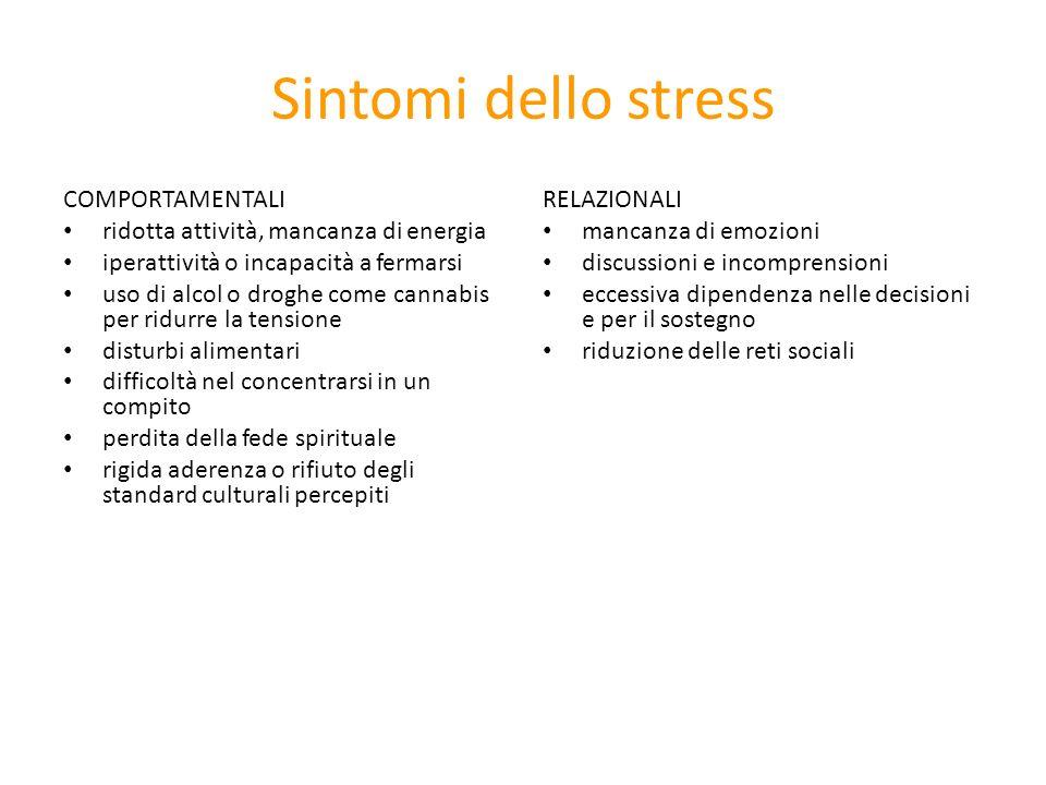 Sintomi dello stress COMPORTAMENTALI ridotta attività, mancanza di energia iperattività o incapacità a fermarsi uso di alcol o droghe come cannabis pe