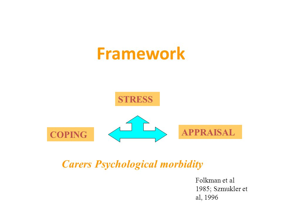 Framework STRESS COPING APPRAISAL Carers Psychological morbidity Folkman et al 1985; Szmukler et al, 1996