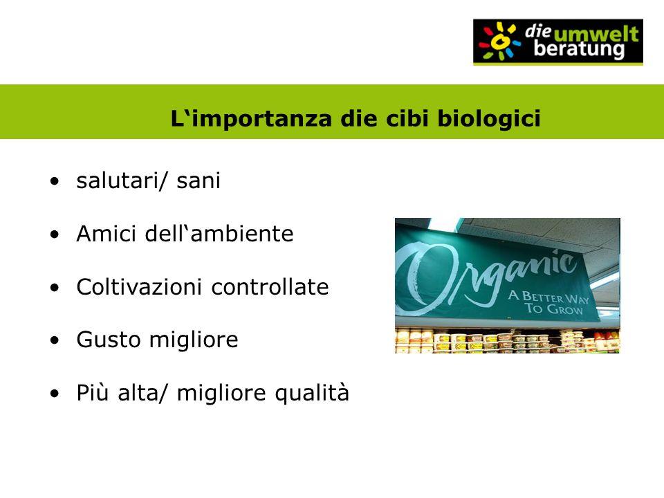 Limportanza die cibi biologici salutari/ sani Amici dellambiente Coltivazioni controllate Gusto migliore Più alta/ migliore qualità