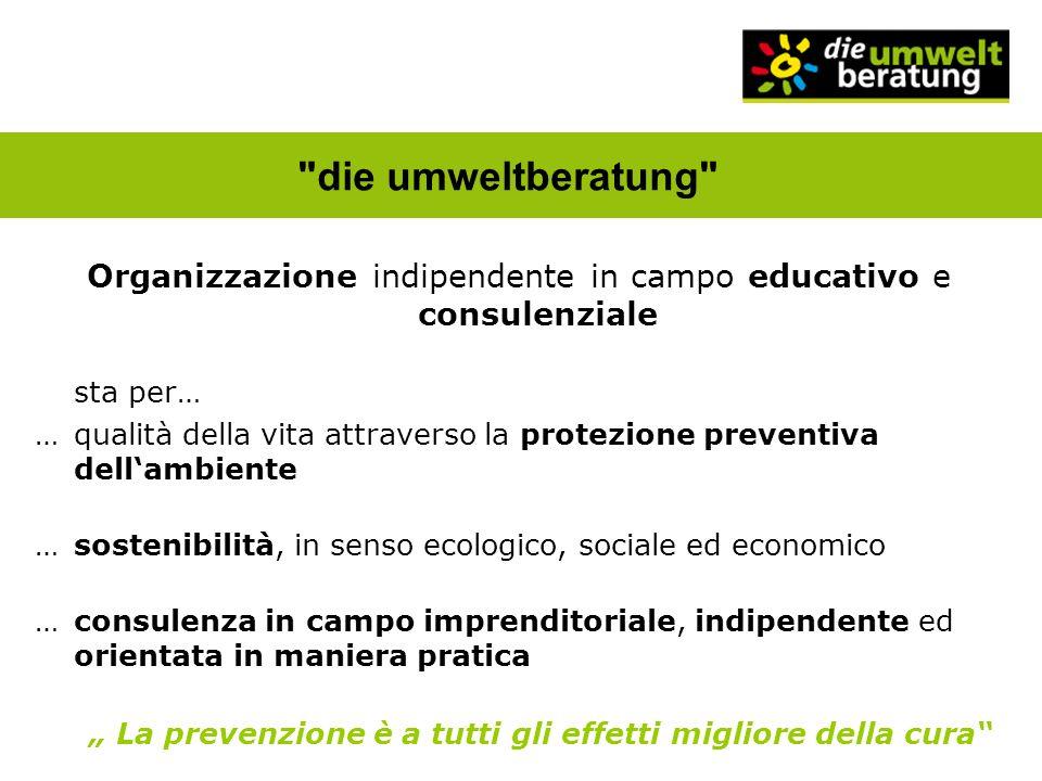 Organizzazione indipendente in campo educativo e consulenziale sta per… …qualità della vita attraverso la protezione preventiva dellambiente …sostenib
