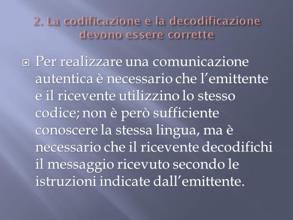 Per realizzare una comunicazione autentica è necessario che lemittente e il ricevente utilizzino lo stesso codice; non è però sufficiente conoscere la