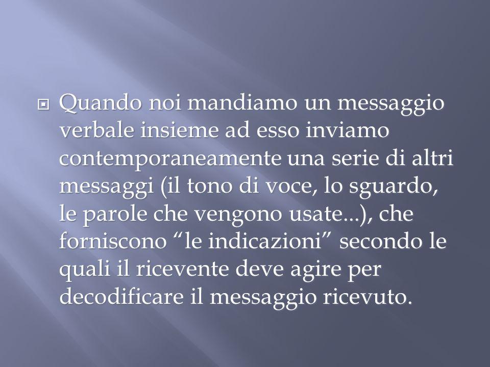 Quando noi mandiamo un messaggio verbale insieme ad esso inviamo contemporaneamente una serie di altri messaggi (il tono di voce, lo sguardo, le parol