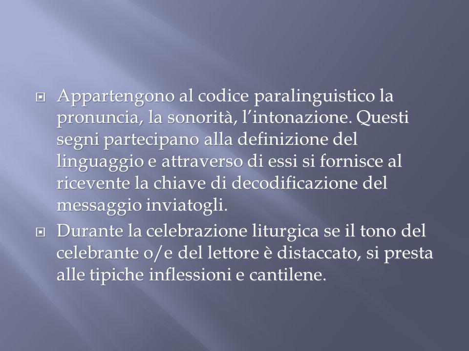 Appartengono al codice paralinguistico la pronuncia, la sonorità, lintonazione.