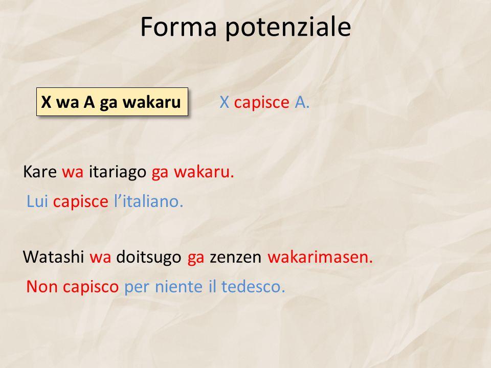 Forma potenziale Kare wa itariago ga wakaru.Lui capisce litaliano.