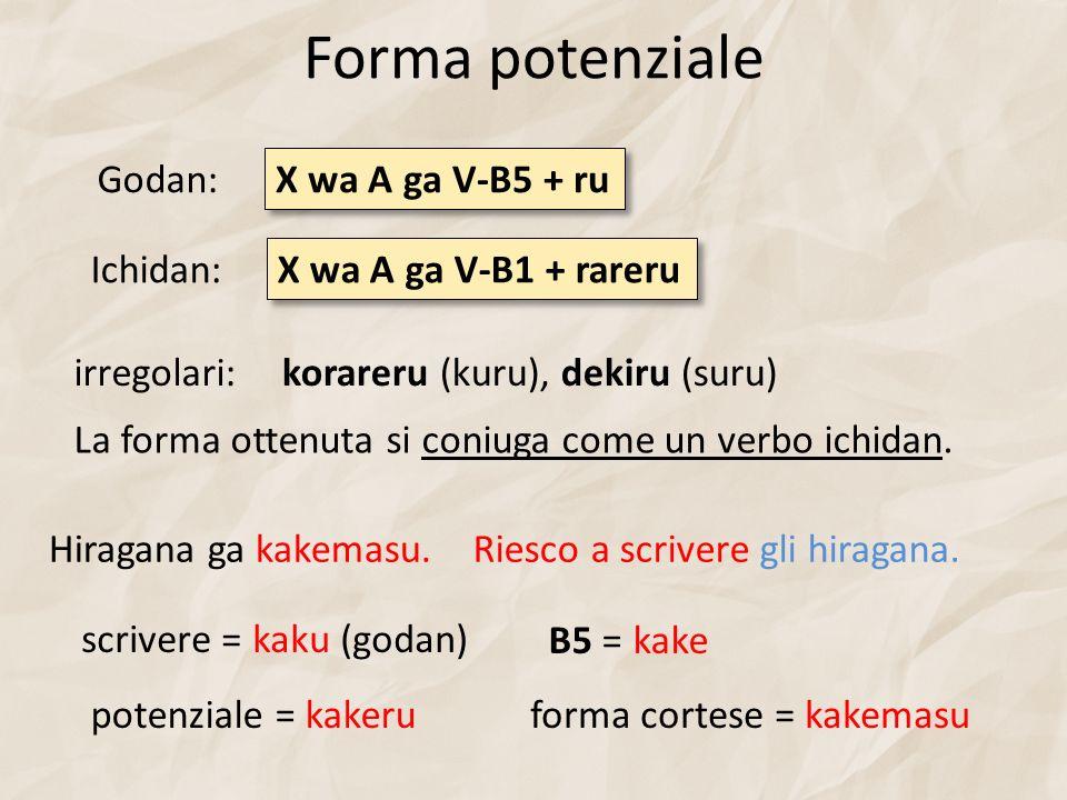 Forma potenziale X wa A ga V-B5 + ru Hiragana ga kakemasu.Riesco a scrivere gli hiragana.