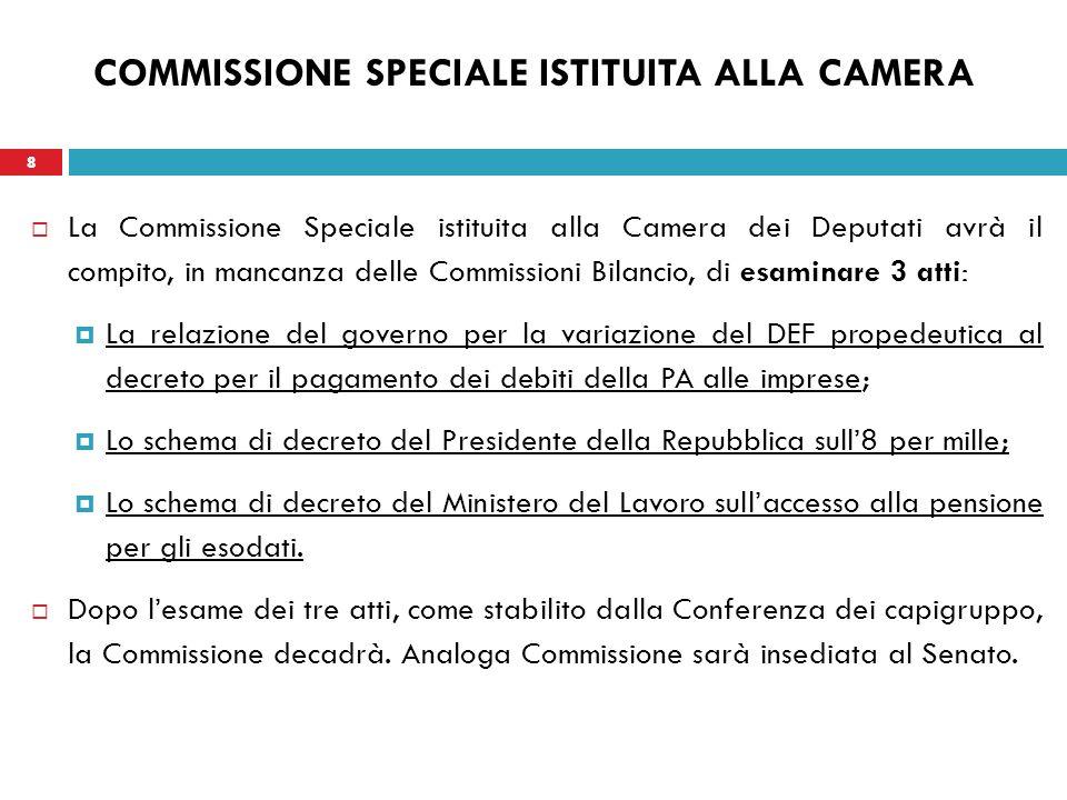 8 COMMISSIONE SPECIALE ISTITUITA ALLA CAMERA La Commissione Speciale istituita alla Camera dei Deputati avrà il compito, in mancanza delle Commissioni
