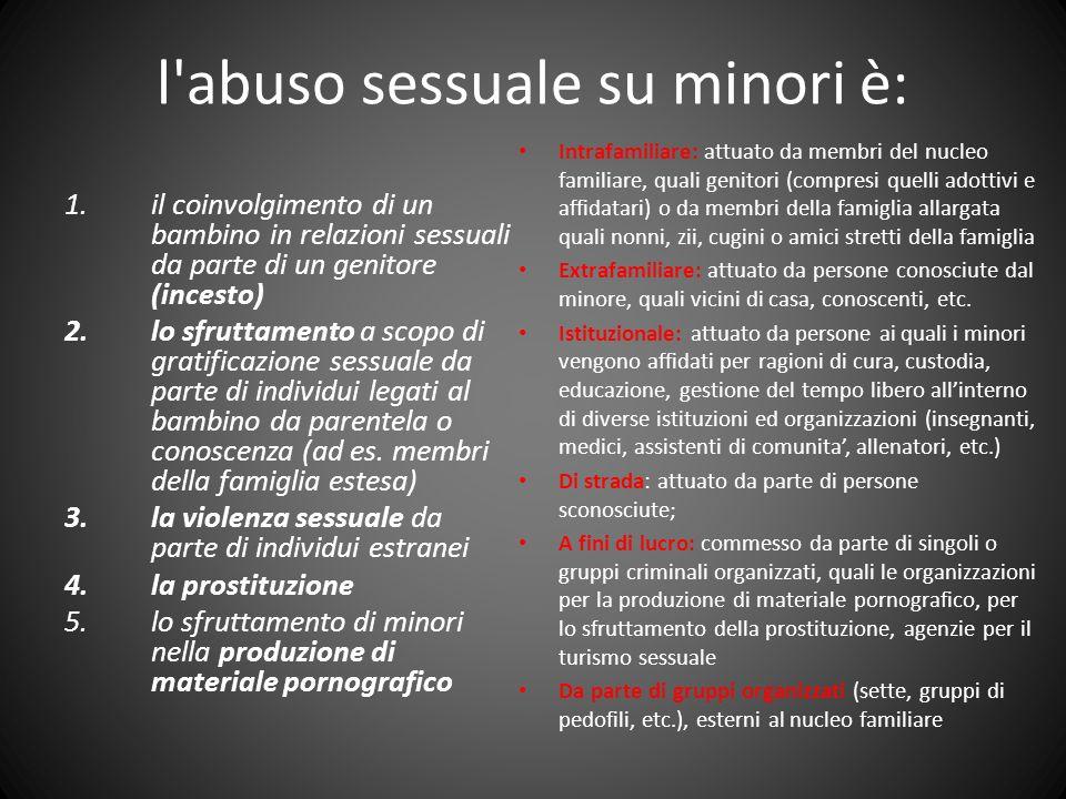 l'abuso sessuale su minori è: 1.il coinvolgimento di un bambino in relazioni sessuali da parte di un genitore (incesto) 2.lo sfruttamento a scopo di g
