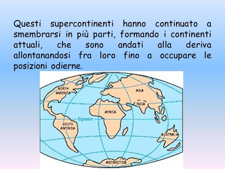 Questi supercontinenti hanno continuato a smembrarsi in più parti, formando i continenti attuali, che sono andati alla deriva allontanandosi fra loro