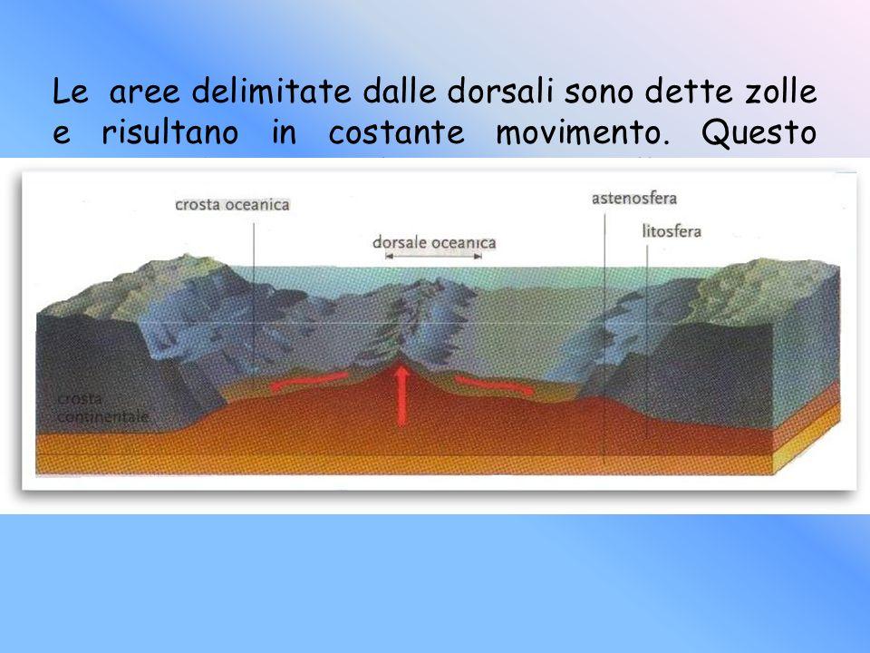 Le aree delimitate dalle dorsali sono dette zolle e risultano in costante movimento. Questo processo ha causato la spaccatura della Pangea e quindi il
