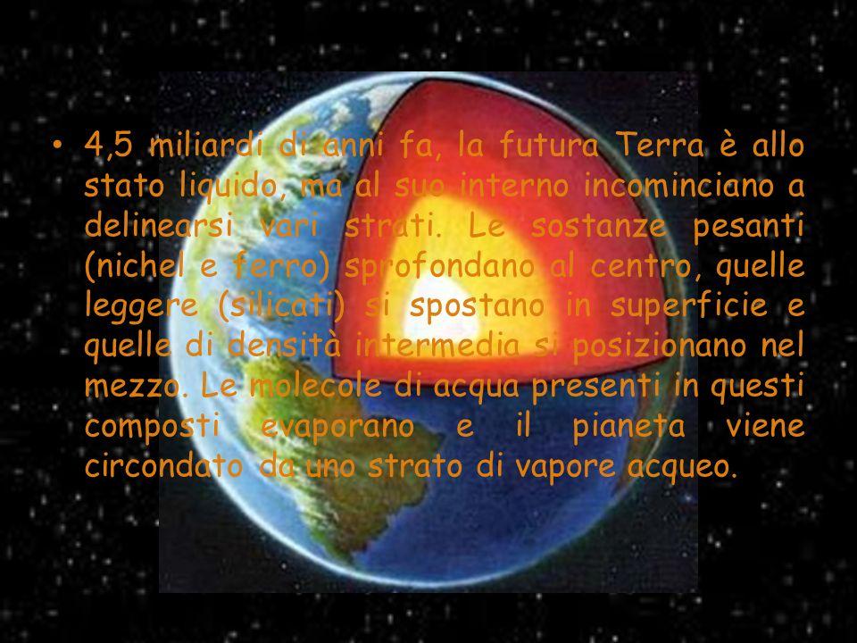 4,5 miliardi di anni fa, la futura Terra è allo stato liquido, ma al suo interno incominciano a delinearsi vari strati. Le sostanze pesanti (nichel e