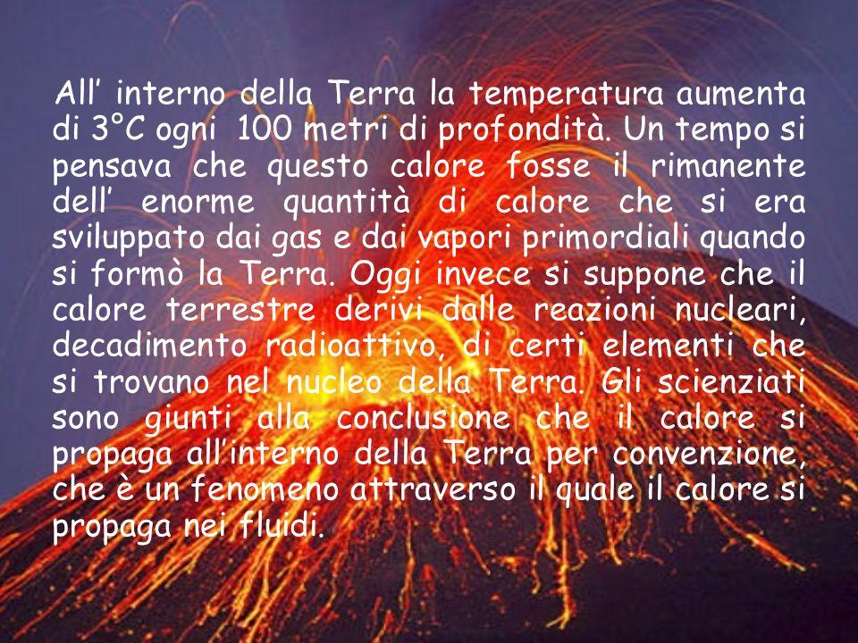 All interno della Terra la temperatura aumenta di 3°C ogni 100 metri di profondità. Un tempo si pensava che questo calore fosse il rimanente dell enor