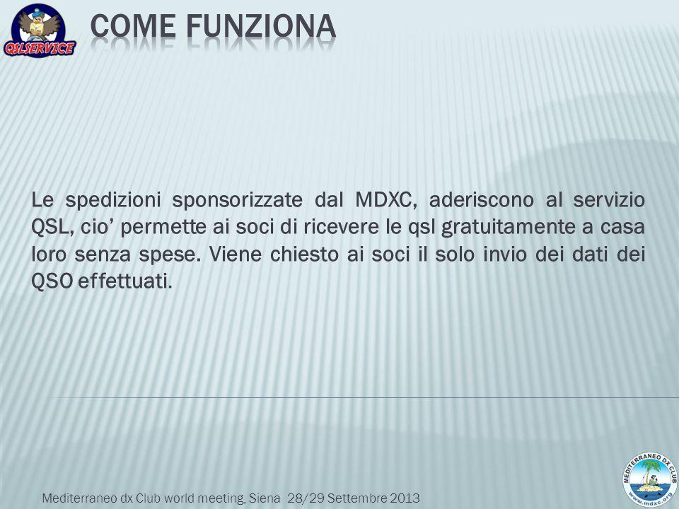 Le spedizioni sponsorizzate dal MDXC, aderiscono al servizio QSL, cio permette ai soci di ricevere le qsl gratuitamente a casa loro senza spese. Viene