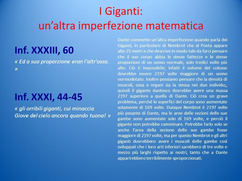 I Giganti: unaltra imperfezione matematica Inf. XXXIII, 60 « Ed a sua proporzione eran l'altr'ossa. » Inf. XXXI, 44-45 « gli orribili giganti, cui min