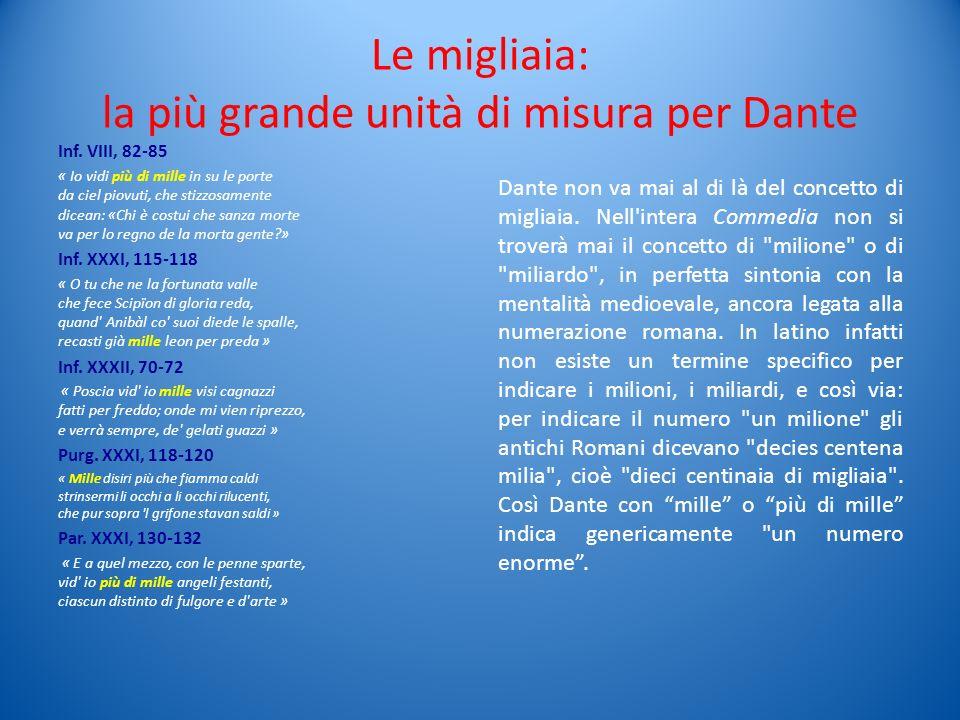 Le migliaia: la più grande unità di misura per Dante Inf. VIII, 82-85 « Io vidi più di mille in su le porte da ciel piovuti, che stizzosamente dicean: