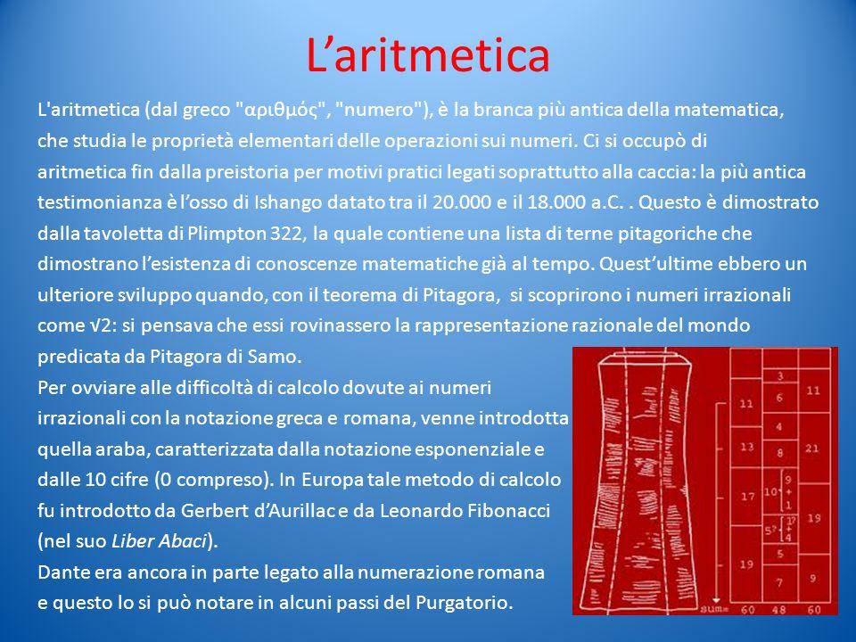 Laritmetica L'aritmetica (dal greco