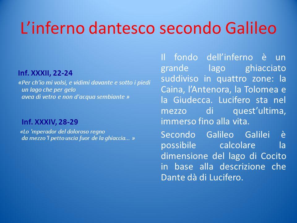 Linferno dantesco secondo Galileo Inf. XXXII, 22-24 «Per ch'io mi volsi, e vidimi davante e sotto i piedi un lago che per gelo avea di vetro e non d'a
