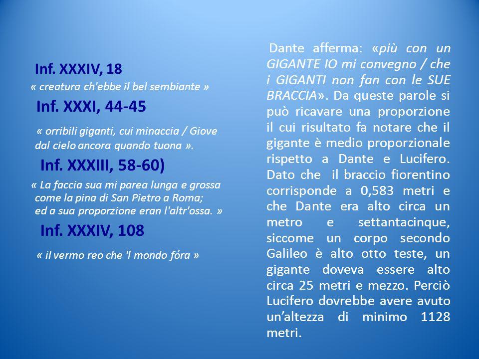 Inf. XXXIV, 18 « creatura ch'ebbe il bel sembiante » Inf. XXXI, 44-45 « orribili giganti, cui minaccia / Giove dal cielo ancora quando tuona ». Inf. X