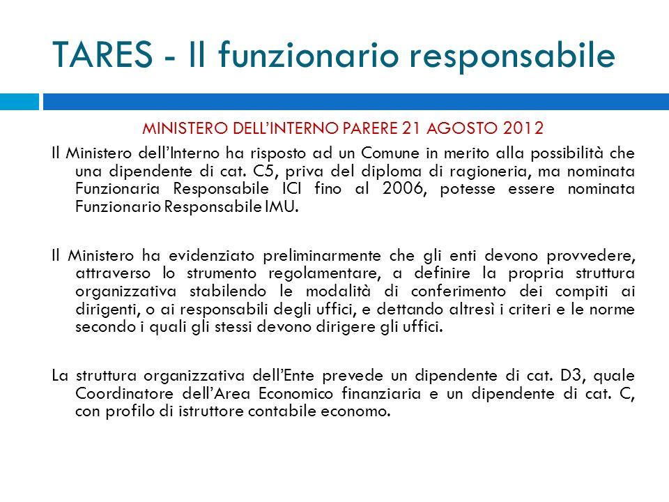 TARES - Il funzionario responsabile MINISTERO DELLINTERNO PARERE 21 AGOSTO 2012 Il Ministero dellInterno ha risposto ad un Comune in merito alla possibilità che una dipendente di cat.
