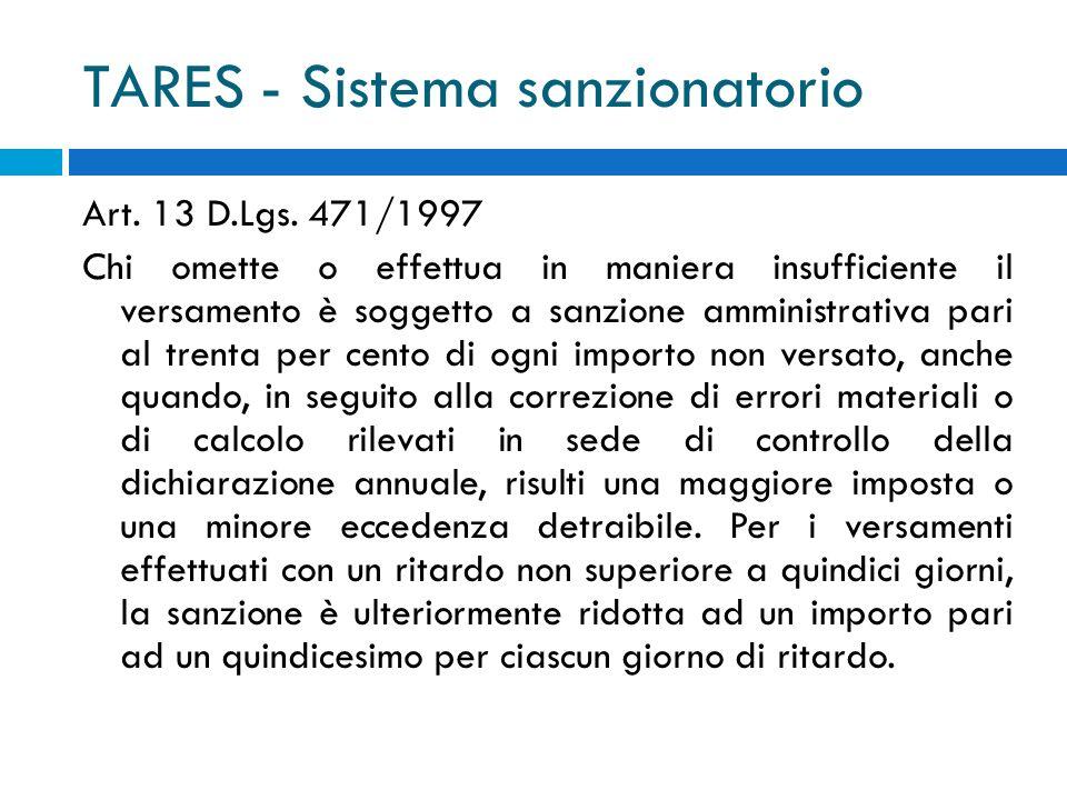TARES - Sistema sanzionatorio Art. 13 D.Lgs. 471/1997 Chi omette o effettua in maniera insufficiente il versamento è soggetto a sanzione amministrativ