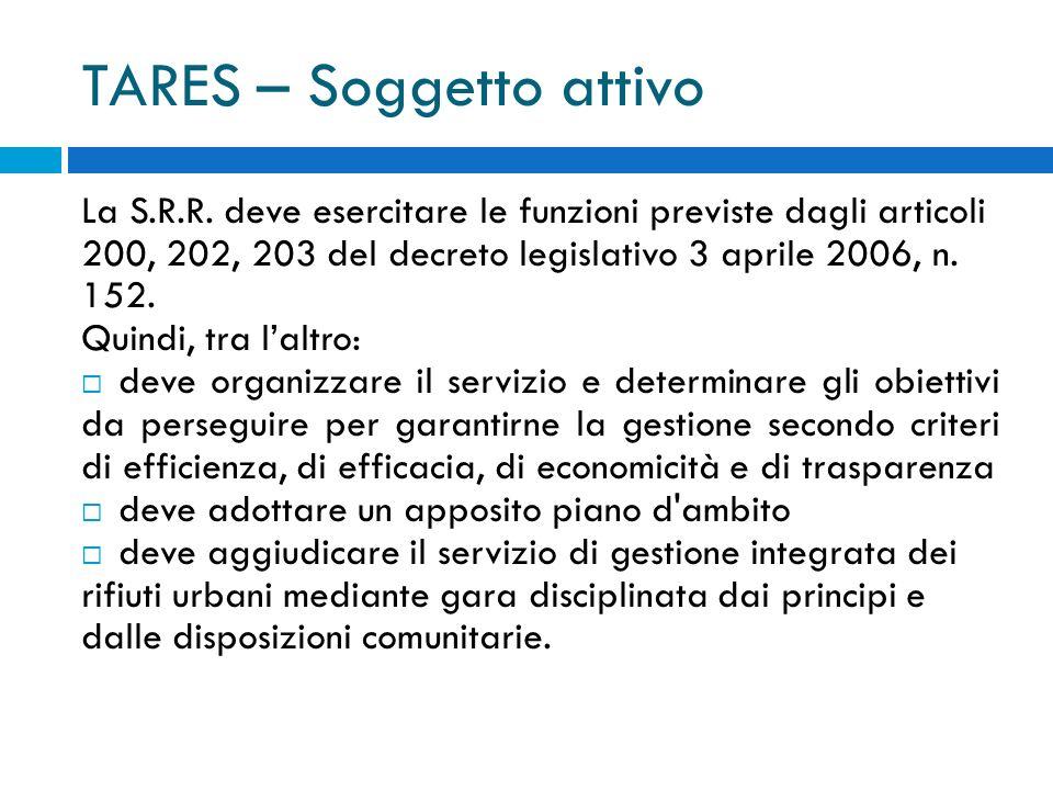 TARES – Soggetto attivo La S.R.R.