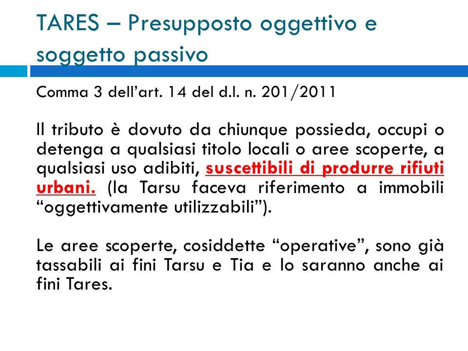 TARES – Presupposto oggettivo e soggetto passivo Comma 3 dellart.