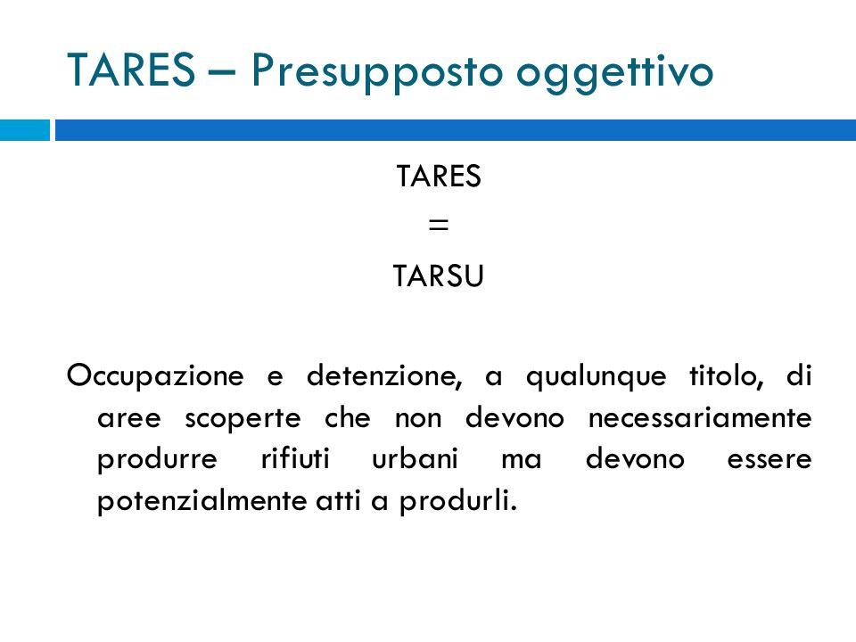 TARES – Presupposto oggettivo TARES = TARSU Occupazione e detenzione, a qualunque titolo, di aree scoperte che non devono necessariamente produrre rifiuti urbani ma devono essere potenzialmente atti a produrli.