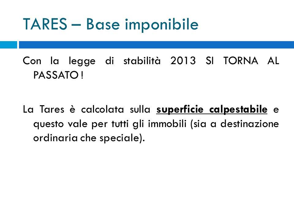 TARES – Base imponibile Con la legge di stabilità 2013 SI TORNA AL PASSATO .