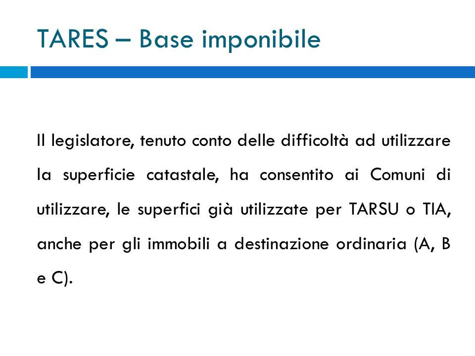 TARES – Base imponibile Il legislatore, tenuto conto delle difficoltà ad utilizzare la superficie catastale, ha consentito ai Comuni di utilizzare, le superfici già utilizzate per TARSU o TIA, anche per gli immobili a destinazione ordinaria (A, B e C).