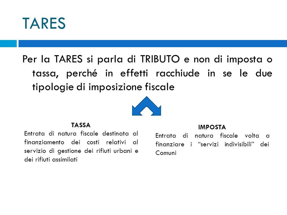 TARES Per la TARES si parla di TRIBUTO e non di imposta o tassa, perché in effetti racchiude in se le due tipologie di imposizione fiscale.