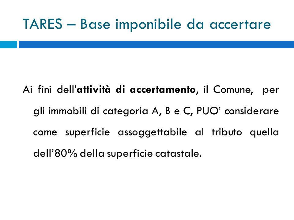 TARES – Base imponibile da accertare Ai fini dellattività di accertamento, il Comune, per gli immobili di categoria A, B e C, PUO considerare come superficie assoggettabile al tributo quella dell80% della superficie catastale.