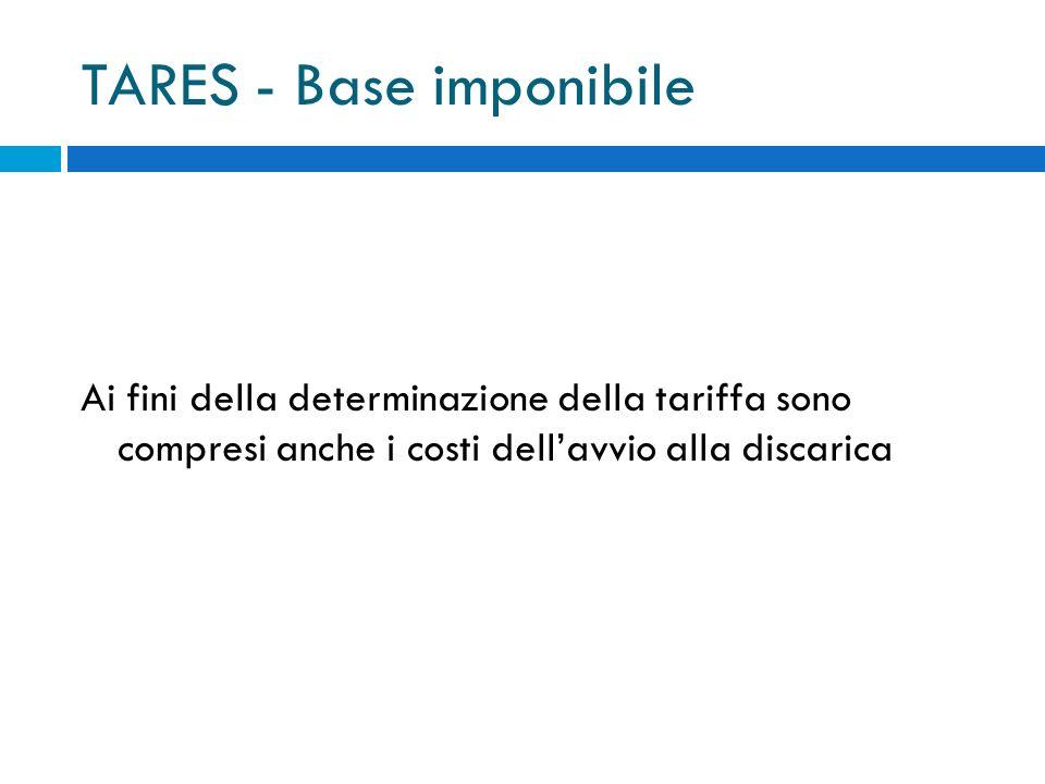 TARES - Base imponibile Ai fini della determinazione della tariffa sono compresi anche i costi dellavvio alla discarica