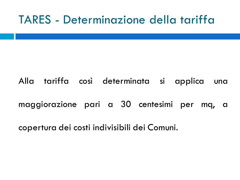 TARES - Determinazione della tariffa Alla tariffa così determinata si applica una maggiorazione pari a 30 centesimi per mq, a copertura dei costi indivisibili dei Comuni.