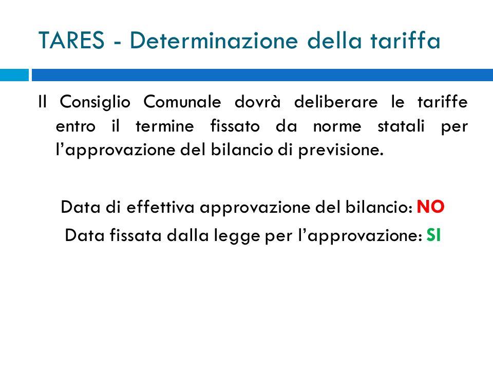 TARES - Determinazione della tariffa Il Consiglio Comunale dovrà deliberare le tariffe entro il termine fissato da norme statali per lapprovazione del bilancio di previsione.