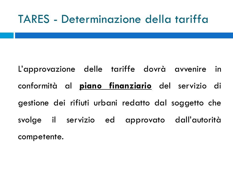 TARES - Determinazione della tariffa Lapprovazione delle tariffe dovrà avvenire in conformità al piano finanziario del servizio di gestione dei rifiuti urbani redatto dal soggetto che svolge il servizio ed approvato dallautorità competente.