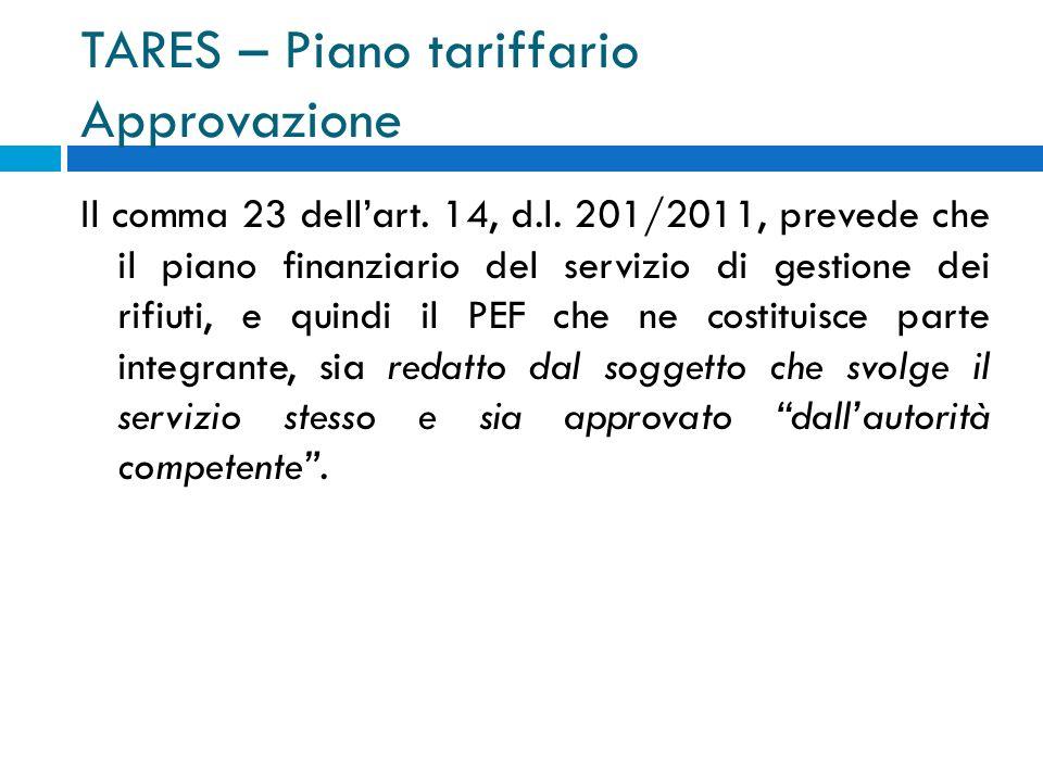 TARES – Piano tariffario Approvazione Il comma 23 dellart.