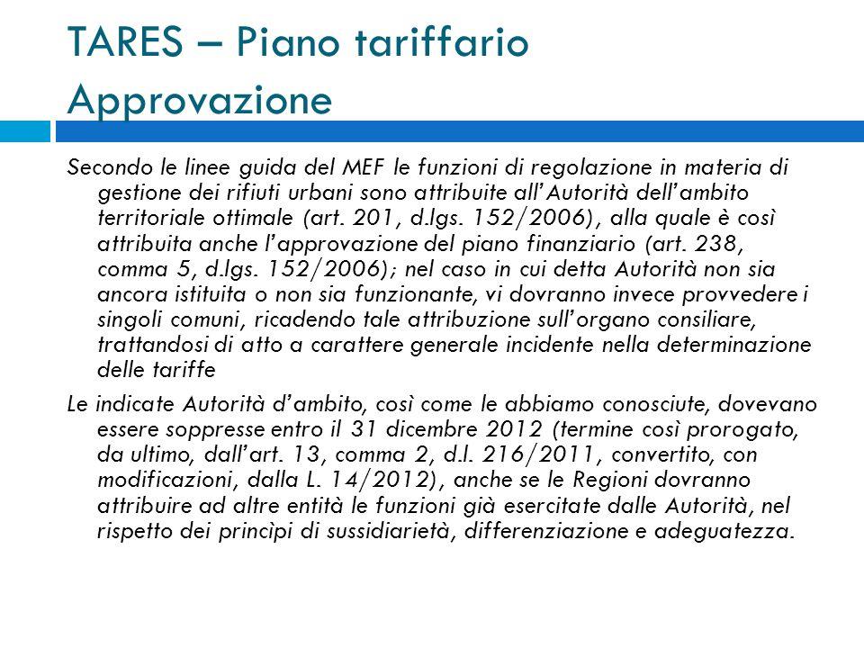 TARES – Piano tariffario Approvazione Secondo le linee guida del MEF le funzioni di regolazione in materia di gestione dei rifiuti urbani sono attribuite allAutorità dellambito territoriale ottimale (art.