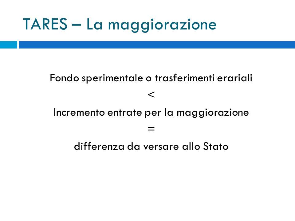 TARES – La maggiorazione Fondo sperimentale o trasferimenti erariali < Incremento entrate per la maggiorazione = differenza da versare allo Stato