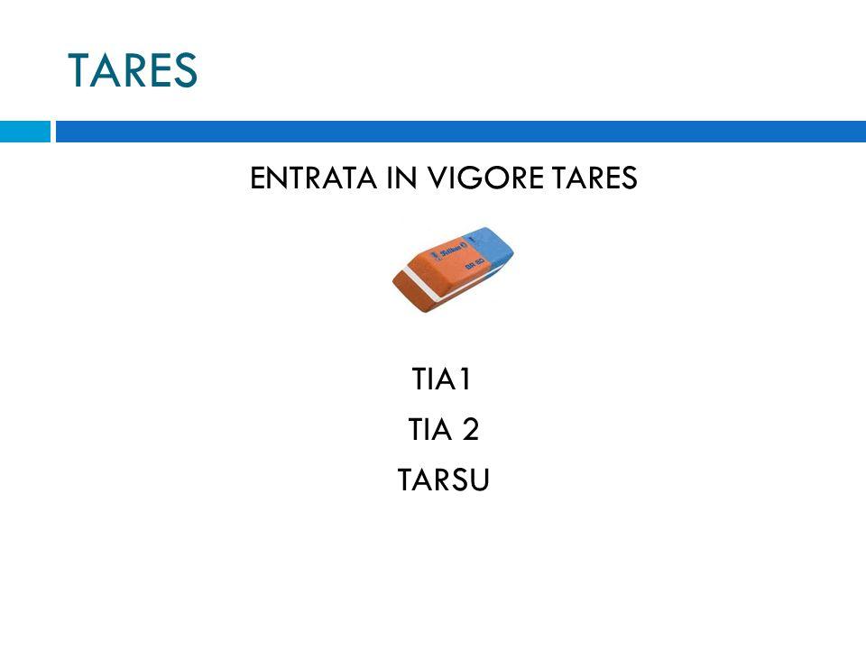 TARES ENTRATA IN VIGORE TARES TIA1 TIA 2 TARSU