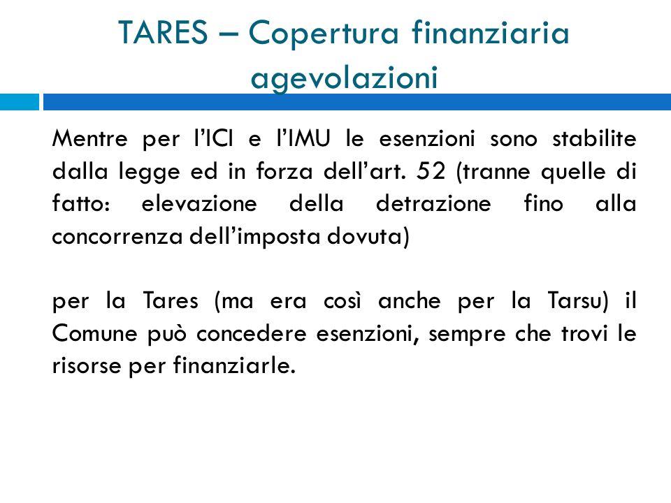 TARES – Copertura finanziaria agevolazioni Mentre per lICI e lIMU le esenzioni sono stabilite dalla legge ed in forza dellart.
