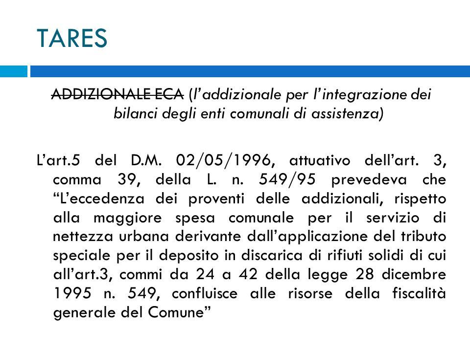 TARES ADDIZIONALE ECA (laddizionale per lintegrazione dei bilanci degli enti comunali di assistenza) Lart.5 del D.M.